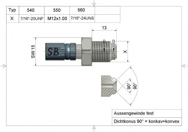 "Aussengewinde fest 13mm lang VarioTyp 560 7/16"" -24 UNS#varinfo"