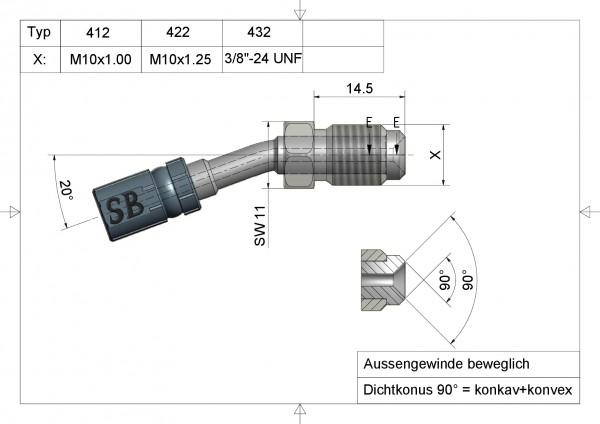 Aussengewinde beweglich M10x1.00 Vario Typ 412#varinfo