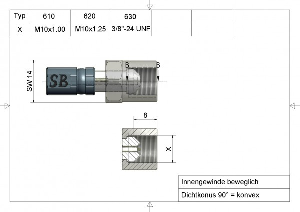 "Aussengewinde fest 12mm lang Vario Typ 561 7/16"" -20 UNF INOX"