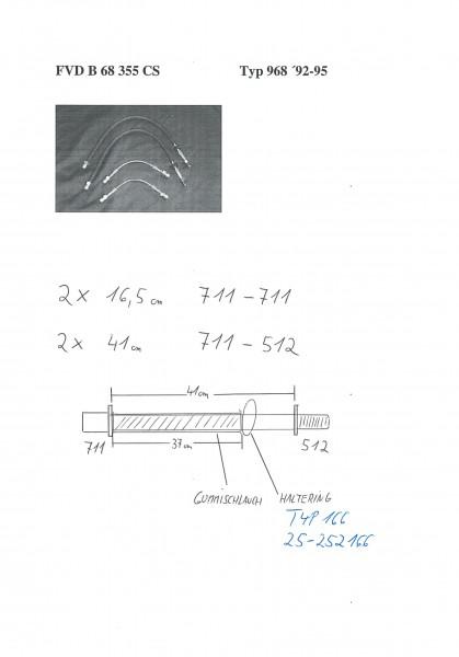 Stahl-Flex Bremsleitungskit Porsche 968 ''92-95 Anschluss anthrazit, Leitung transparent mit SB-Logo