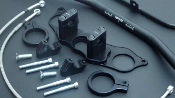 Superbike Umbau komplett (Klemm) silber, Lenker silber, Anschluss silber, Leitung transparent mit SB