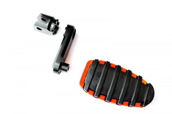 Fußrastensatz Komfort 1-teilig mit Gummiauflage, Variogelenk und 50mmVarioplatte  orange glänzend, s