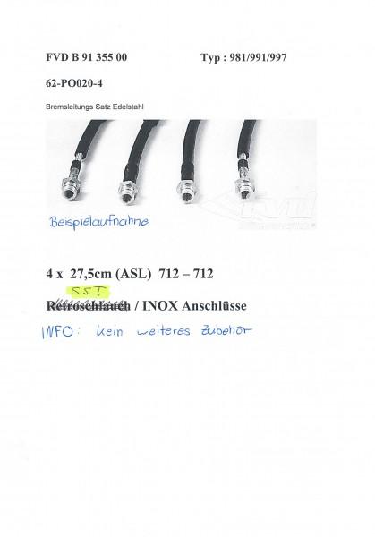 Stahl-Flex Bremsleitungskit Porsche 981/991/997 Anschluss anthrazit, Leitung transparent mit SB-Logo