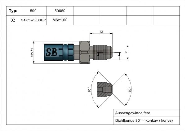 Aussengewinde fest 13mm lang Vario Typ 580 AGF M8 x 1.00 INOX