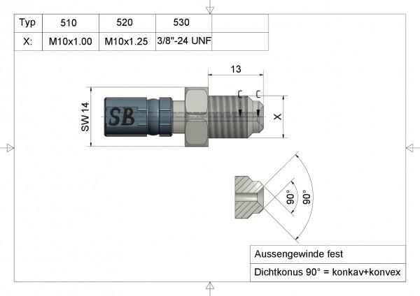 """Aussengewinde Vario Typ 530 3/8""""-24 G UNF#varinfo"""