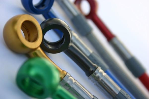 Stahl-Flex Bremsleitung Anschluss silber, Leitung transparent mit SB-Logo