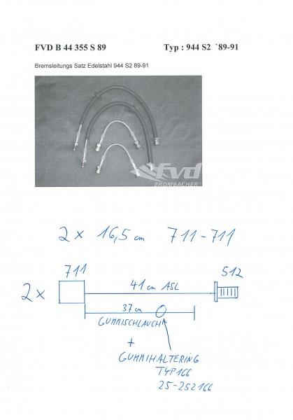 Stahl-Flex Bremsleitungskit Porsche 944 S2 ''89-91 Anschluss anthrazit, Leitung transparent mit SB-Lo