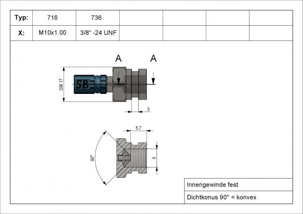 Innengewinde fest mit Einstich 3mm VarioTyp 716 IGF M10 x1.00 INOX