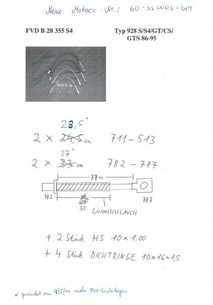 Stahl-Flex Bremsleitungskit Porsche 928 S/S4/GT/CS/GTS 86-95 Anschluss anthrazit, Leitung transparen