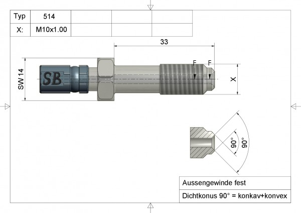 Aussengewinde fest Edelstahl  Typ 514 AGF M10 x 1.00 INOX