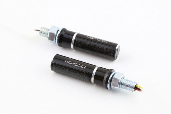 LED Rück-, Bremslicht, Blinker CONERO, schwarzes Aluminium Gehäuse, getöntes Glas, Paar, für hinten