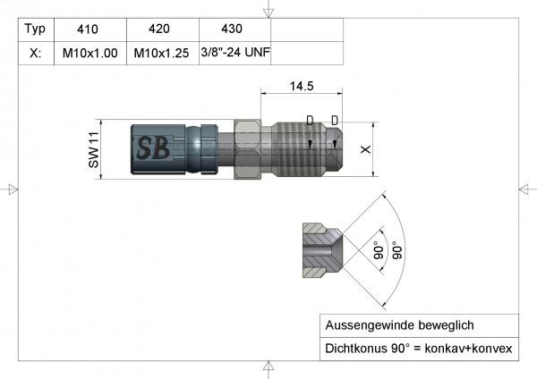 Aussengewinde beweglich M10x1.00 Vario Typ 410#varinfo