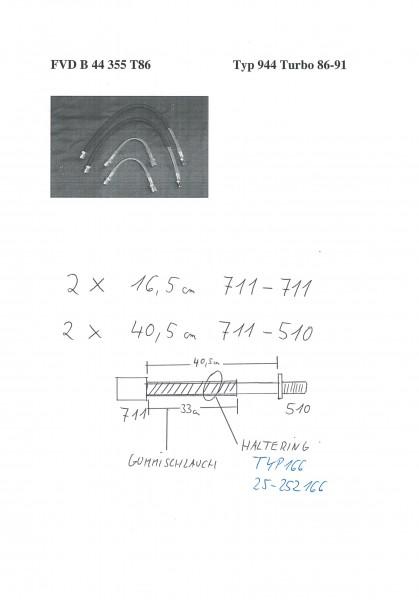 Stahl-Flex Bremsleitungskit Porsche 944 Turbo ''86-91 vorne Anschluss Edelstahl, Leitung ransparent o