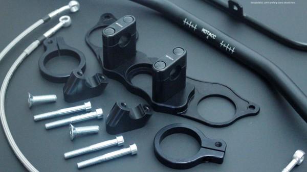 Superbike Umbau komplett silber, Lenker silber, Anschluss silber, Leitung transparent mit SB-Logo