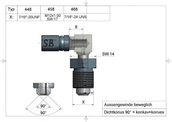 Aussengewinde beweglich Vario 90°  Typ 458 AGL 90° M12x1 SW17