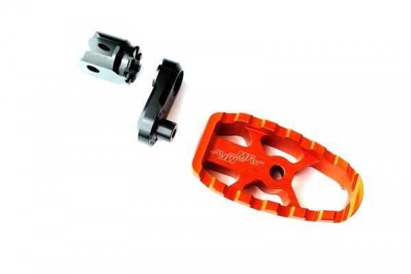 Fußrastensatz Komfort 1-teilig mit Gummiauflage, Variogelenk und 30mmVarioplatte  orange glänzend, s