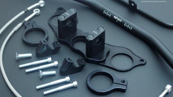 Superbike Umbau komplett FZR 600R 94- (GY5) schwarz, Lenker blau, Anschluss schwarz, Leitung transpa