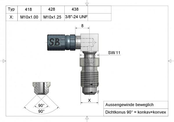 """Aussengewinde beweglich 3/8""""-24 UNF- Typ 438 #varinfo"""