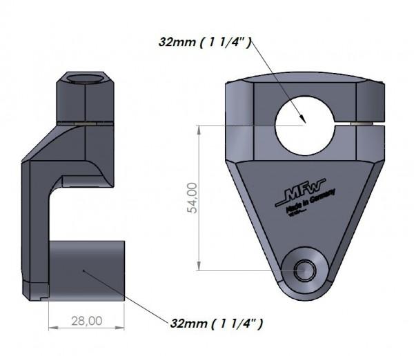 """Vario-Riser2 Ø1 1/4"""" (32mm) sandgestrahlt #varinfo"""